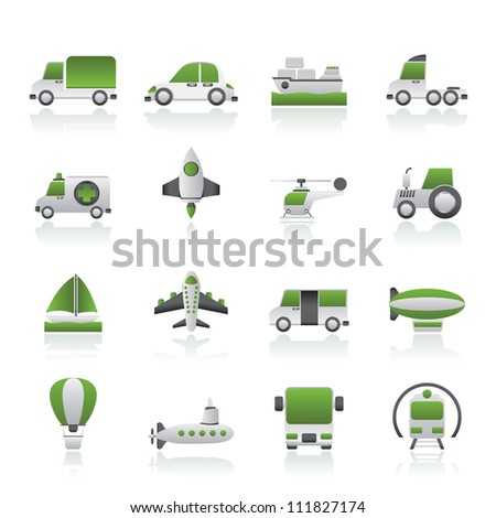 Different kind of transportation icons - vector icon set - stock vector