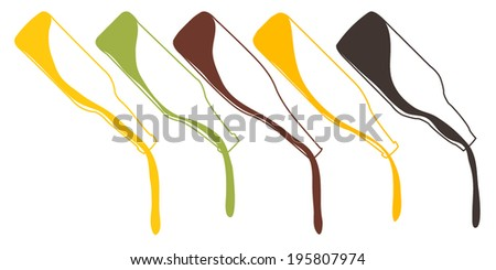 Different Kinds of Beer Pouring Bottles Illustration - stock vector