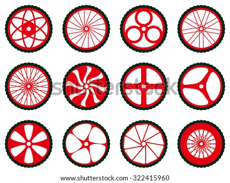 Different kinds of bike wheels. Bike wheels with tires and spokes. Bicycle icons series. - stock vector