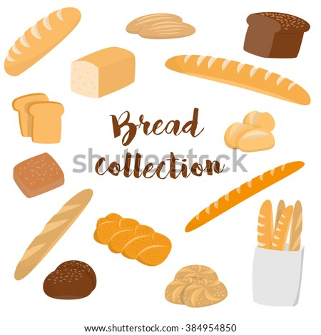 Different kinds of bread isolated on white. Flat vector collection of bakery items for print or web.  - stock vector