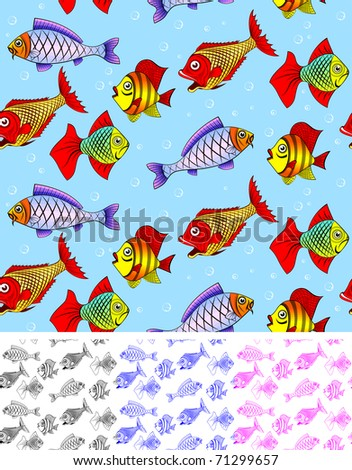 Different kinds of fish. Seamless. You can repaint any color. You can repaint any color. - stock vector