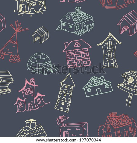 different kinds of houses seamless pattern