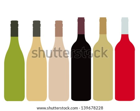 Different Kinds of Wine Bottles Without Labels - stock vector
