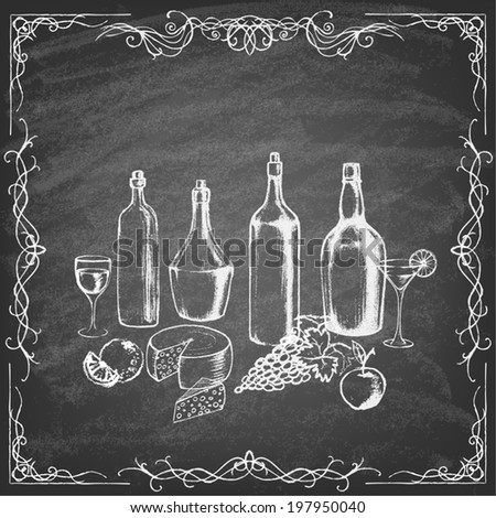 Different kinds of wine bottles without labels. Collection of hand-drawn bottles and food. Retro vintage style food design on blackboard.  Vector illustration. - stock vector