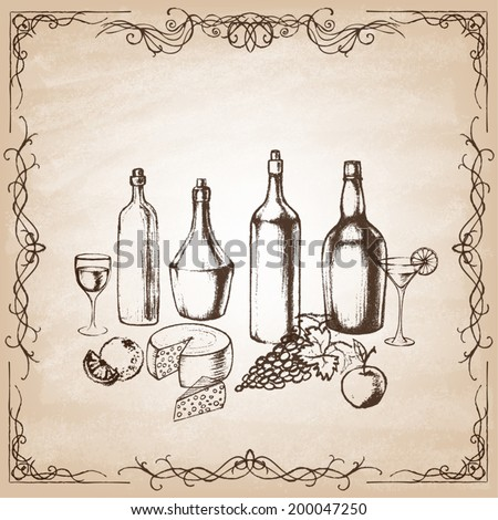 Different kinds of wine bottles without labels. Collection of hand-drawn bottles and food. Retro vintage style food design. Vector illustration. - stock vector