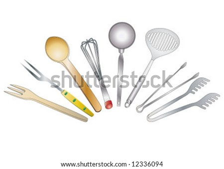 Different kitchen enamelware on white background - stock vector