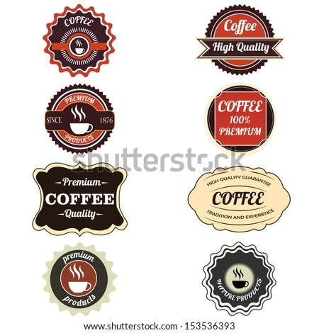 different labels on white background