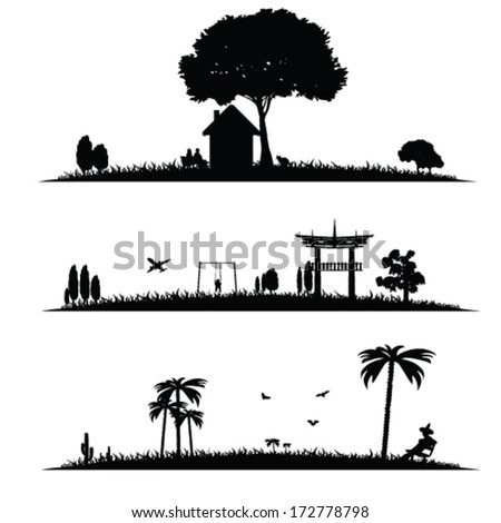 different landscape vector illustration on a white