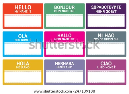 Different languages name tag with copy space. - stock vector