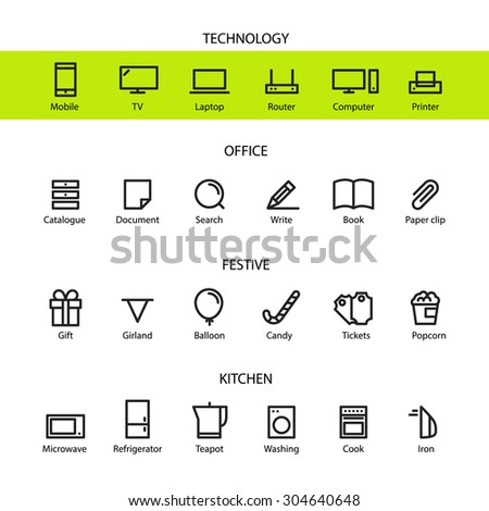 Different line style icons set - stock vector