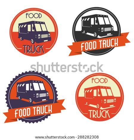 Different logos of food truck, the logos have a retro look - stock vector