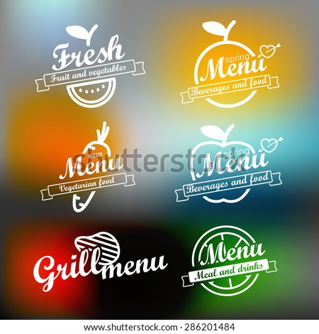 Different menu labels design set. Vector lineart concept  - stock vector