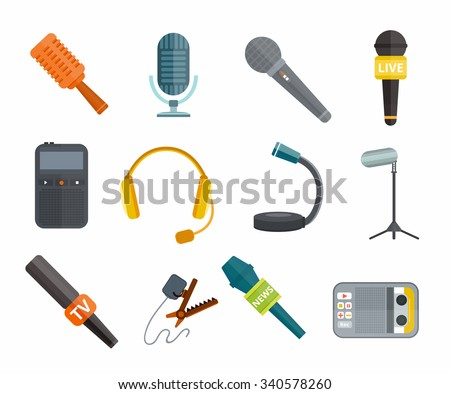 Different microphones types vector icons. Journalist microphone, interview microphone, music studio microphone. Web broadcasting microphone, vocal microphone, tv show microphone. Microphones icons - stock vector