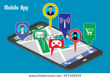 Different mobile applications and avatars on smart phone screen ,Flat vector illustration