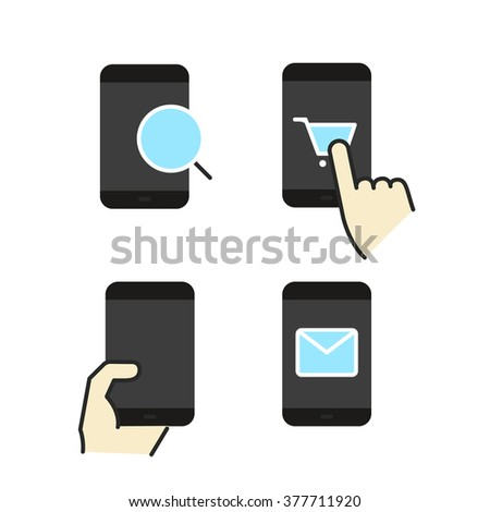 Different modern smartphone color flat icons collection - stock vector