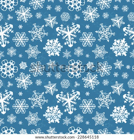 Different modern snowflakes on blue winter background seamless pattern - stock vector