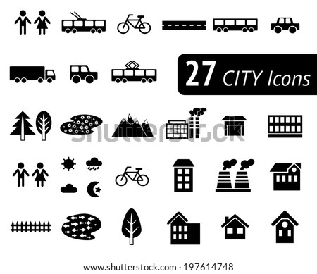 Different monochromatic flat city elements for creating your own map. Easy to edit and recolor - vector object are separated in layers. Map elements for your pattern, web site or other type of design. - stock vector