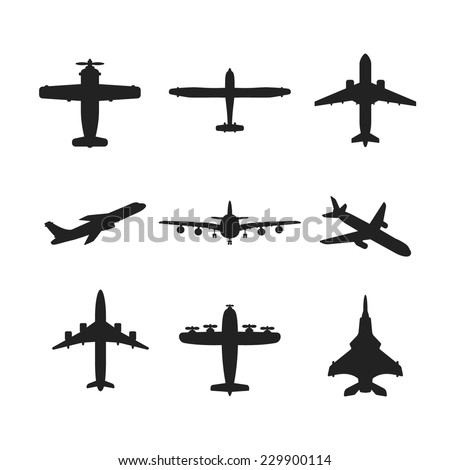 Different monochrome vector airplanes icon set - stock vector