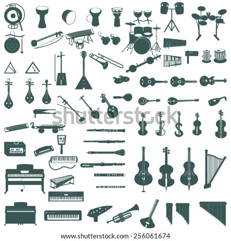 different music instruments - stock vector