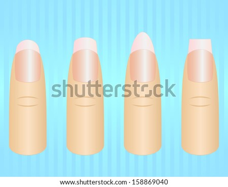 Different nail shapes - stock vector