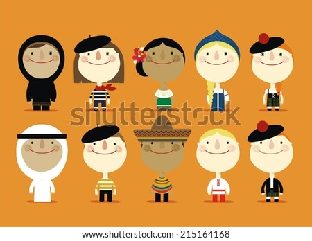 different nationalities - stock vector