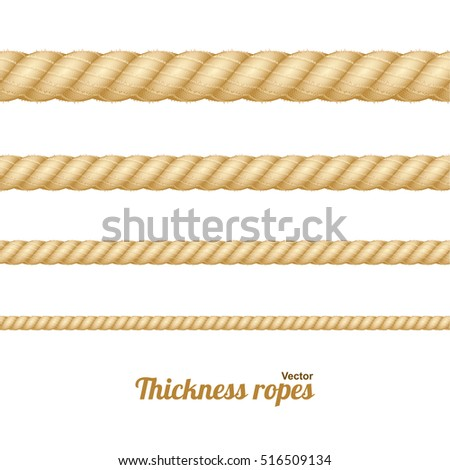 Different Nautical Twine Brown Thickness Rope Set Isolated on a Light Background. Vector illustration of twisted thick knot lines. Graphic string cord for borders.
