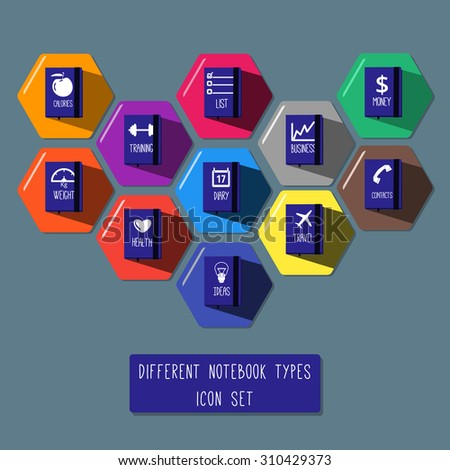Different notebooks icon set: training, calories, weight, health, travel diary, notebook for ideas