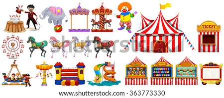 Different objects from the circus illustration - stock vector