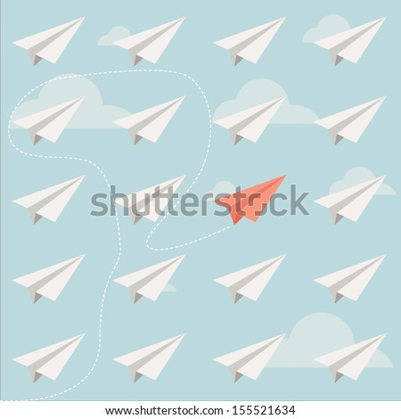 different paper plane vector - stock vector