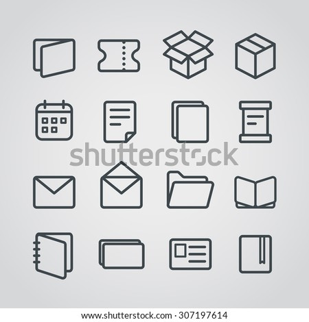 Different paper stuff vector icons collection - stock vector