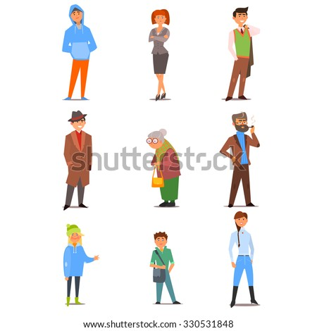 Different people of various ages, interests, lifestyles and professions. Vector Illustration Collection in Flat Design - stock vector