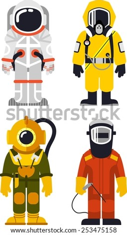 Different people professions characters in flat style - stock vector