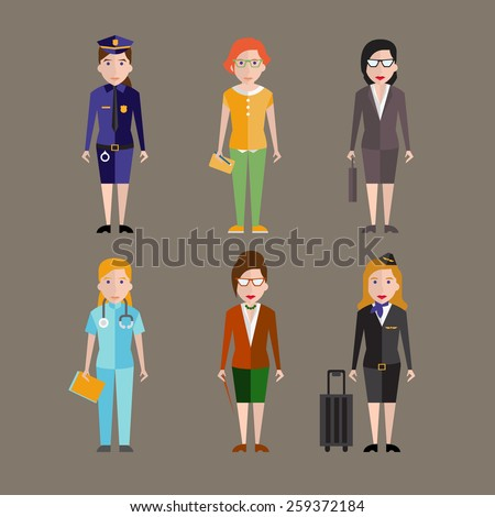 Different people professions characters set vector - stock vector