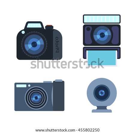 Different photo and video cameras. Different camera set photography isolated symbol photograph digital equipment. Retro technology camera set vintage element sign film collection. - stock vector