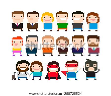 Different pixel art 8-bit people characters - stock vector