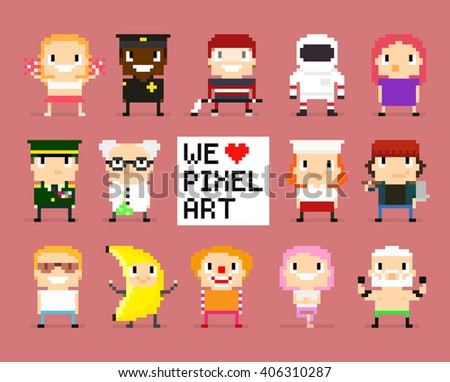 Different pixel art characters, 8 bit people, we love pixel art sign with pixel heart