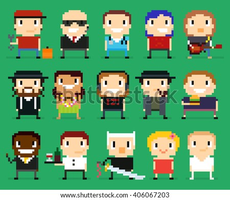 Different pixel art characters, 8 bit people with different gender, occupation and skin tone