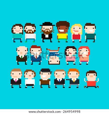 Different pixel art people characters - stock vector