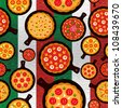 Different Pizza flavors seamless pattern over wooden textured Italian flag background. Vector file layered for easy manipulation and custom coloring. - stock vector