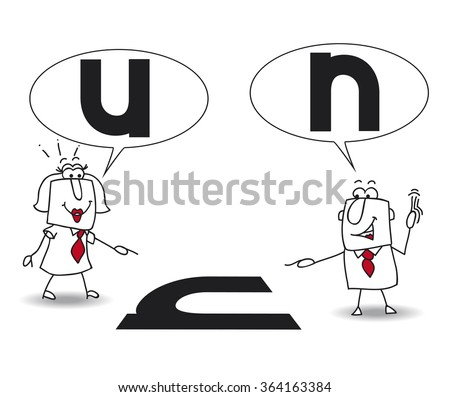 Different points of view. Karen the woman and Joe the man are right, but their points of view are different. It's for that they are disagree. They don't see the same thing - stock vector