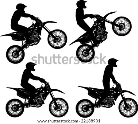 Different Poses Dirt Rider - stock vector