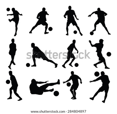 Different poses of soccer players vector silhouette illustration isolated on white background. Football players silhouette.