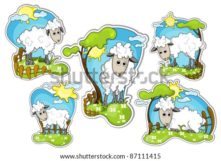 different positions of little sheep in grassland : vector stickers - stock vector