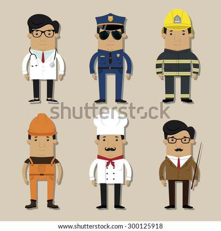 Different professions charachter set - stock vector