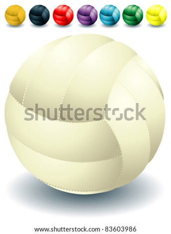 Different rainbow isolated volleyballs - stock vector