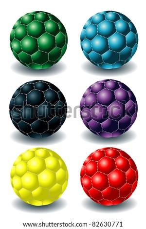 different rainbow soccer balls - stock vector