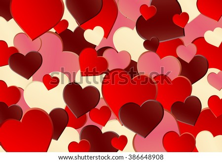 Different Red Heart Shape Background - stock vector