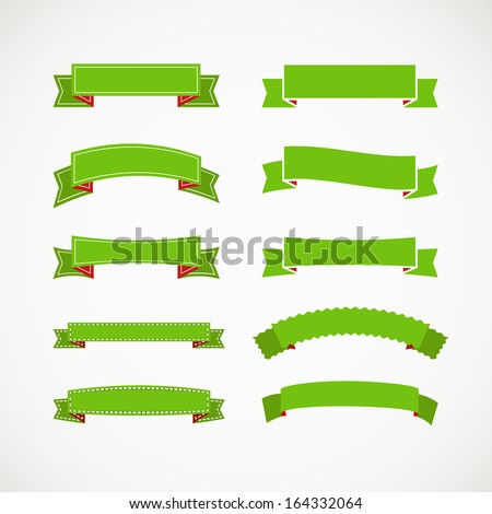Different retro style green ribbons. Ready for a text - stock vector