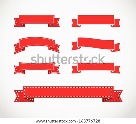 Different retro style red ribbons. Ready for a text - stock vector