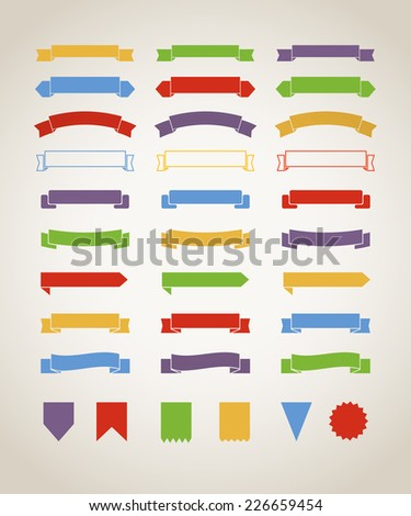Different retro style red ribbons set isolated on white. Ready for a text